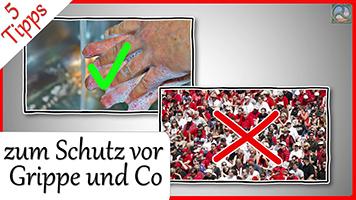 Händewaschen und Menschenmenge - Schutz vor Grippe