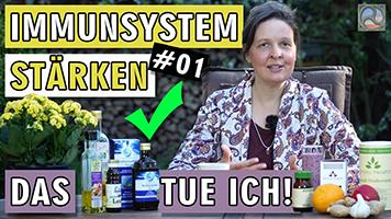 Antje Tittelmeier mit Produkten, die ihr Immunsystem stärkt